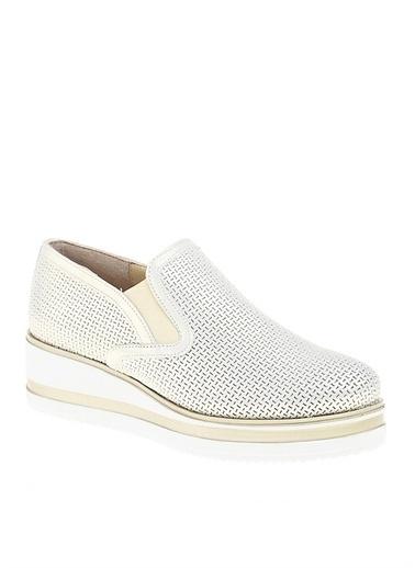 Divarese Divarese Kadın Deri Beyaz Düz Ayakkabı Bej